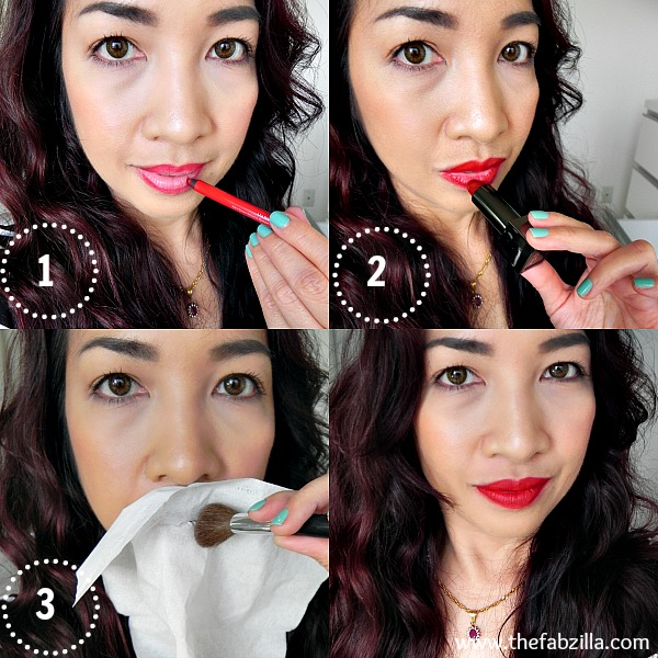 how to wear red lipstick, how to make lipstick last all night, burberry lip cover soft satin lipstick ruby, review, swatch