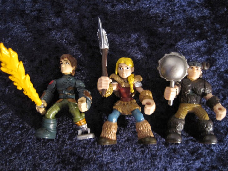 Dragon Riders vikings: Hiccup, Astrid, and Snotlout.