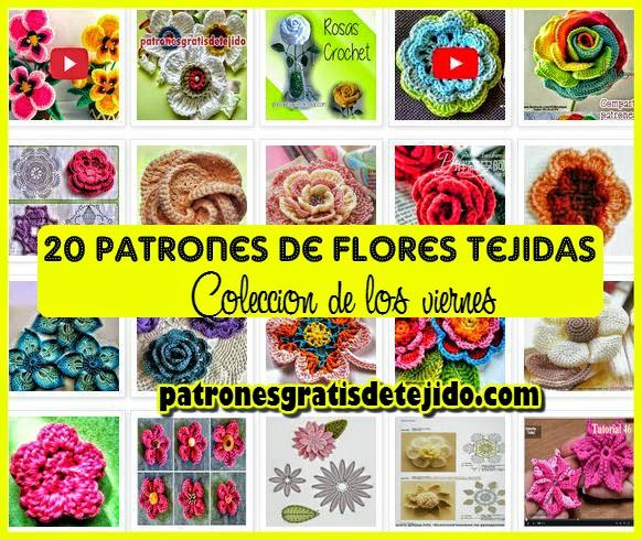 patrones en esquemas y videos de flores tejidas  gratis