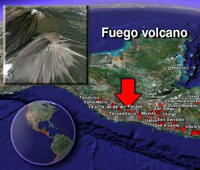 Volcán Fuego en erupción 21 de Junio 2012