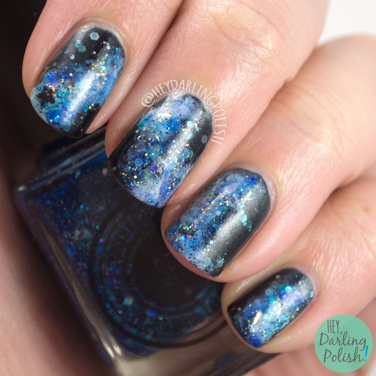 nails, nail art, nail polish, galaxy, galaxies, the nail art guild, glitter, blue, indie polish, hey darling polish