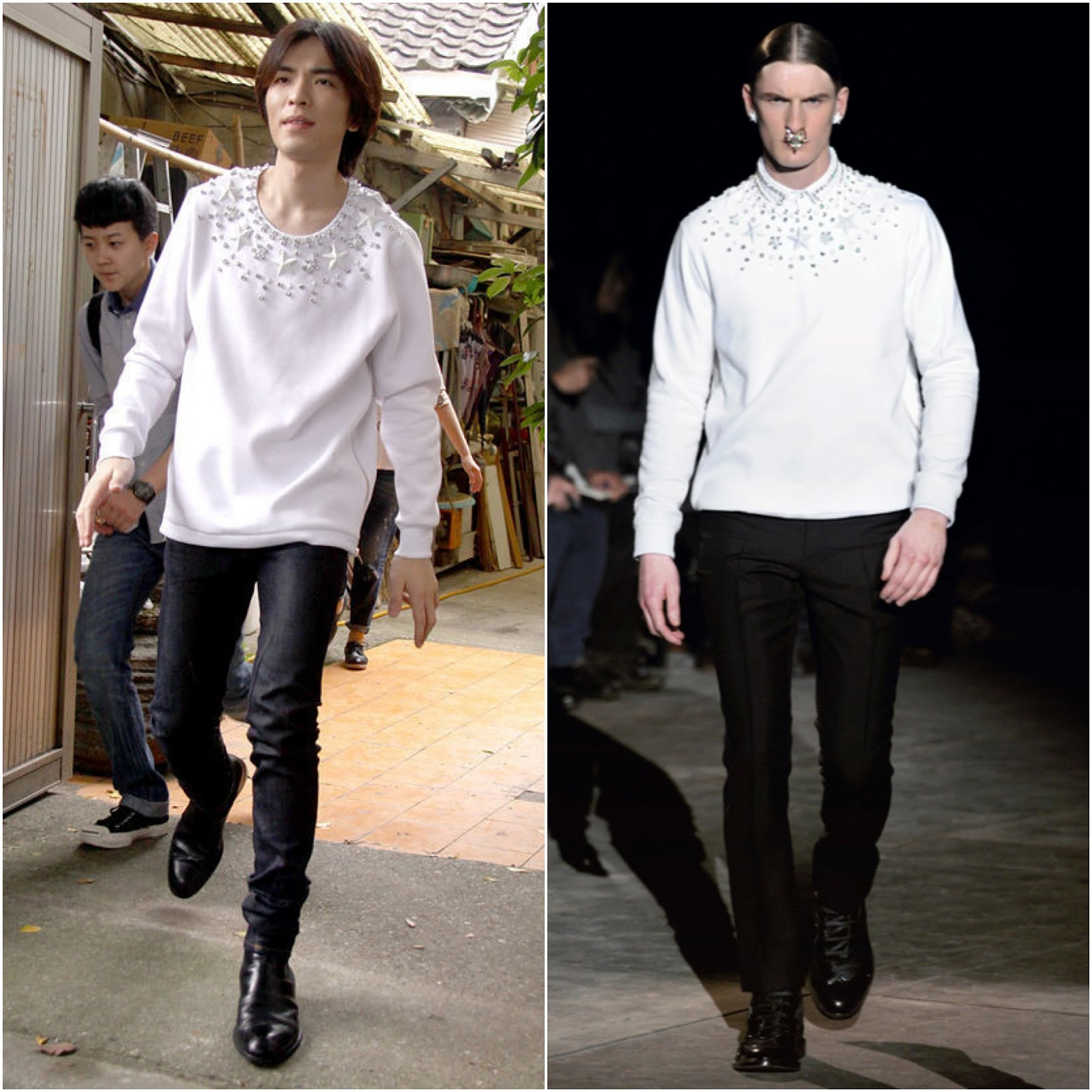 00O00 Menswear Blog http://00O00.blogspot.com Jam Hsiao Jing Teng [萧敬腾] in Givenchy menswear Fall Winter 2012 - Charity Promo, Taiwan
