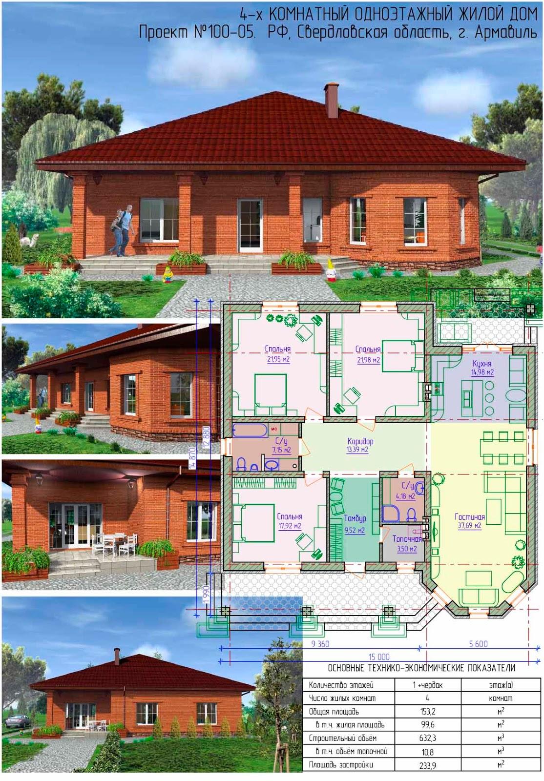 проекты одноэтажных домов с 2 эркерами