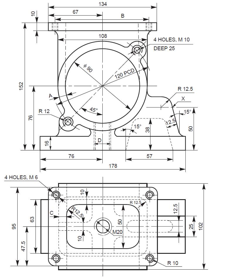 Mechanical Machine Design: Pump Housing 2D Drawing/3D Model