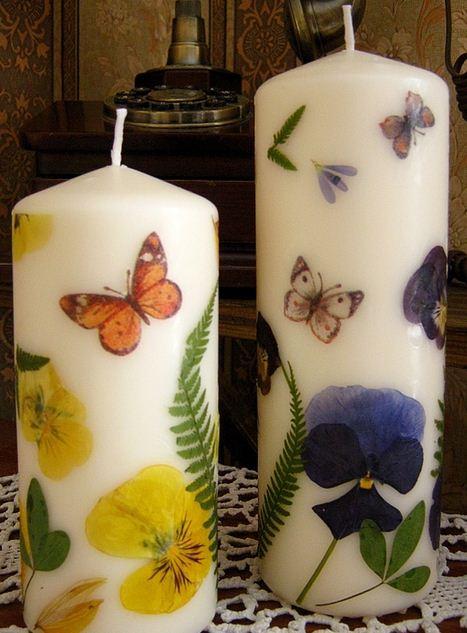 Velas decoradas con flores deshidratadas - Velas decoradas para navidad ...