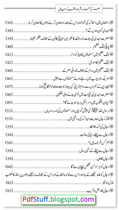 Contents of the Urdu book Marika-e-Khair-o-Shar Aur Fitna-e-Dajjal
