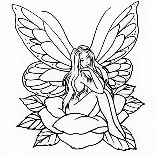 Fairy on rose tattoo stencil