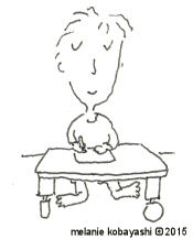 Melanie Kobayashi, cartoon, drawing at her desk