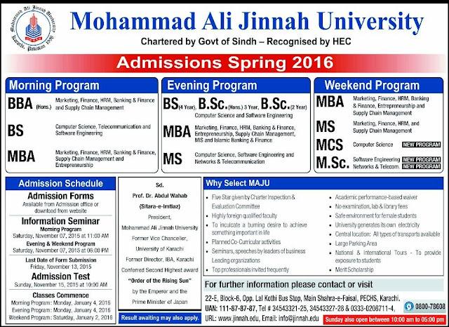 Mohammad Ali Jinnah University Karachi Admissions Spring 2016