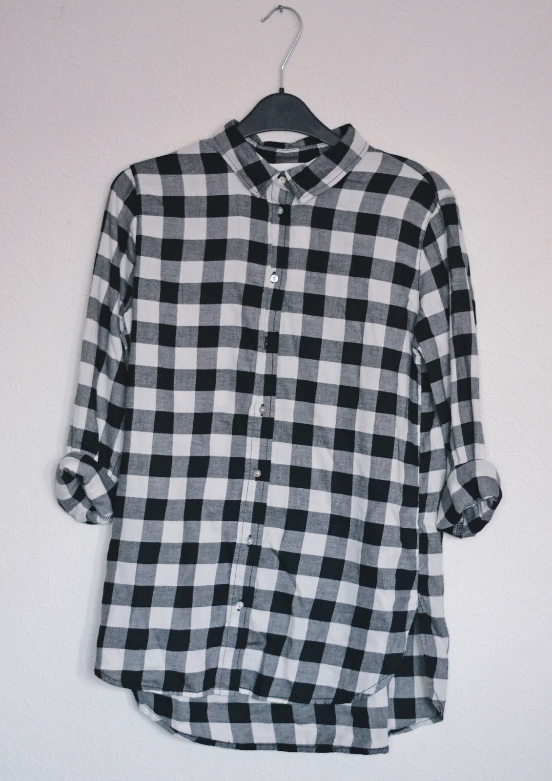 h&m monochrome check shirt