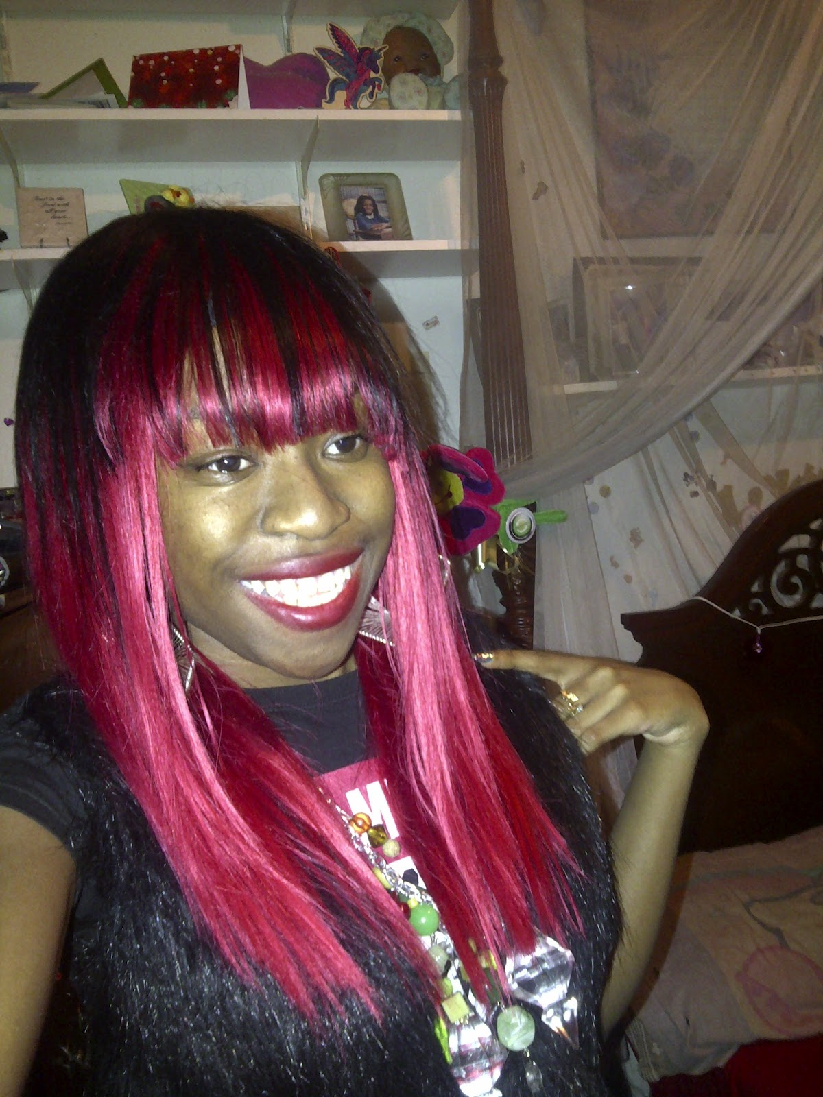 Shaybeautie Quick Weave Wig Red Black