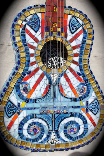 "Mosaic Guitar Art ""Broken Melody"" by Susanna Mills"