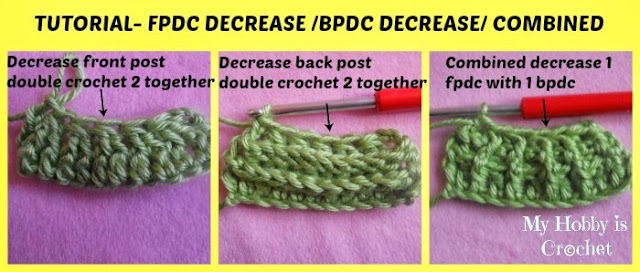 Crochet Stitches Back Post Double Crochet : Crochet: Front post double crochet decrease, back post double crochet ...
