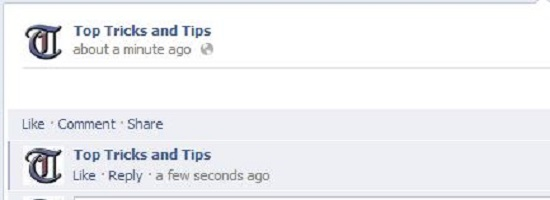 Empty Status and Comment on Facebook