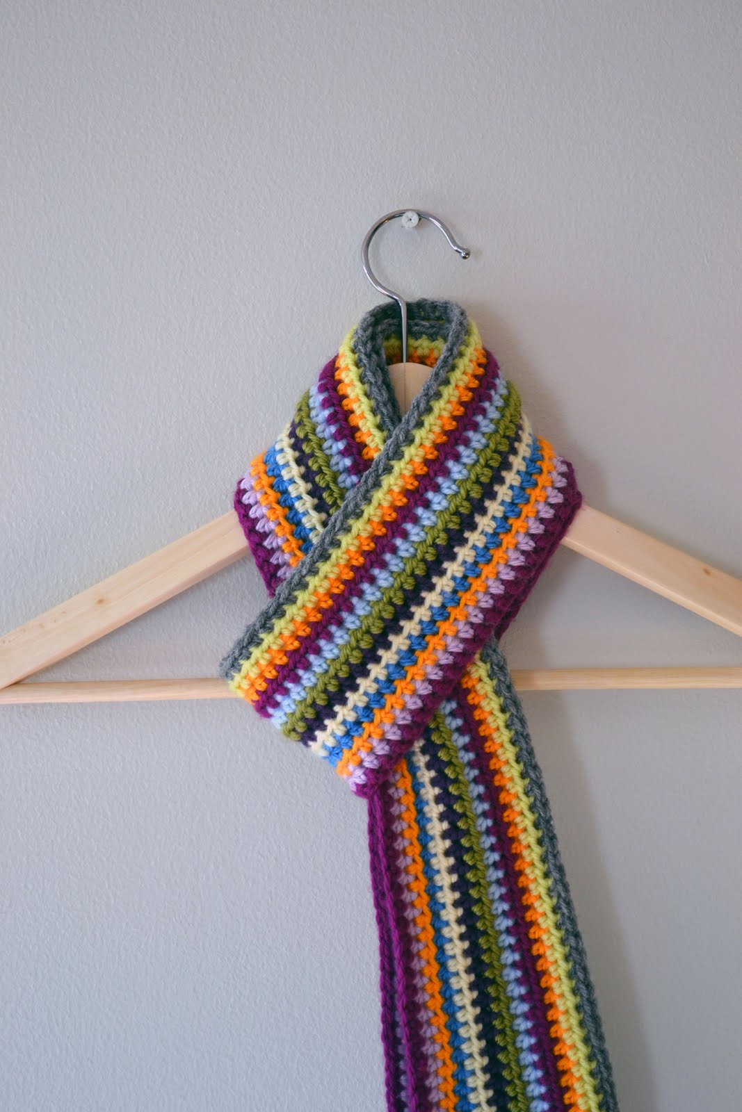 Free Crochet Pattern Striped Scarf : Crochet in Color: Scrapadelic Scarf