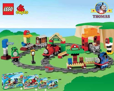 Brick Duplo educational teaching toys and Thomas Lego steam train model railway units to play with