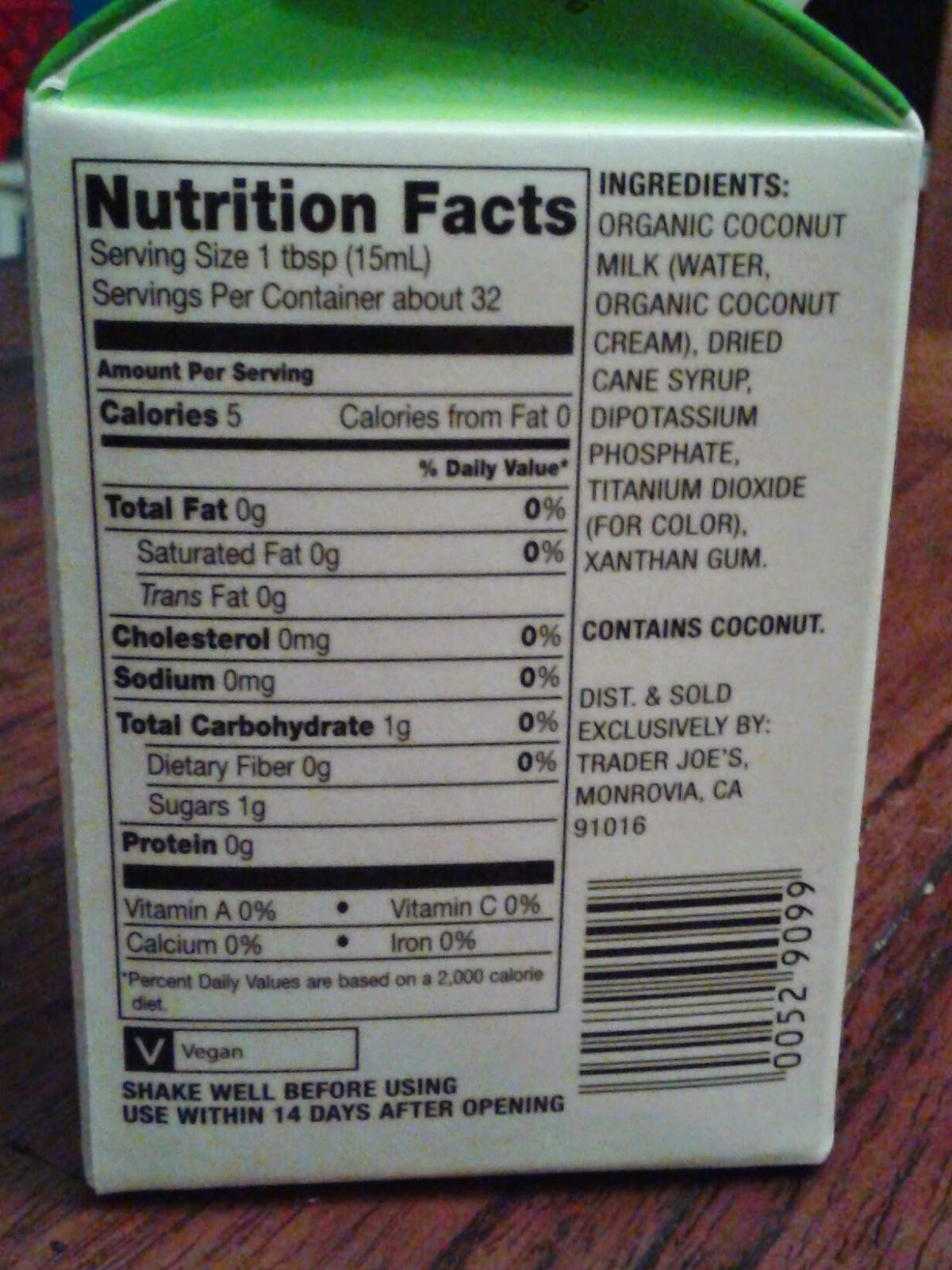 Trader Joe S Unsweetened Soy Milk Nutrition Facts