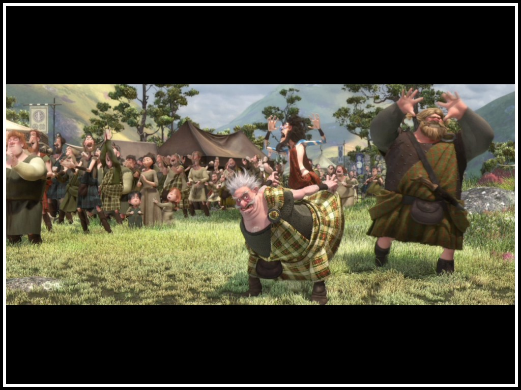 A kilted man carrying another man on his back in Brave 2012 animatedfilmreviews.filminspector.com