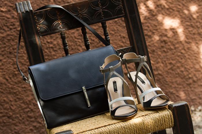 sandalias de tiras de tres colores de cuero y bolso clon Trio de Céline