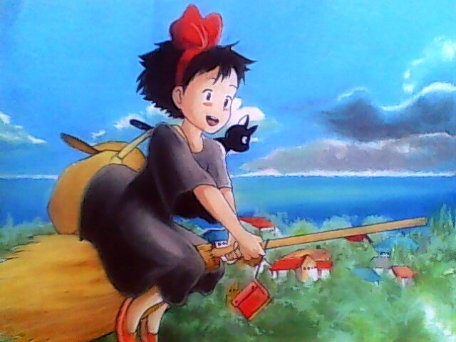 Kiki flying Kiki's Delivery Service 1989 disneyjuniorblog.blogspot.com