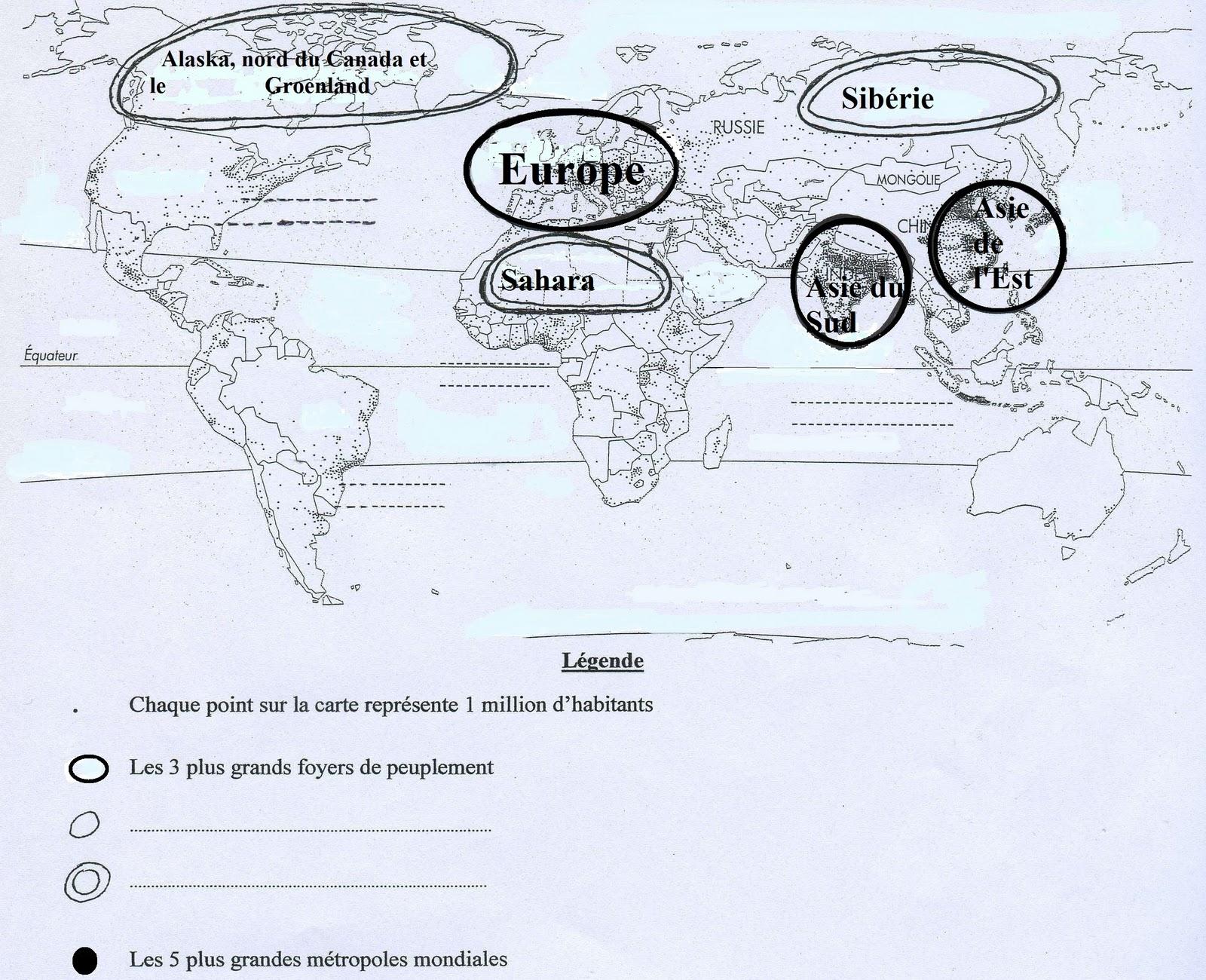 Carte Des Grand Foyer De Peuplement : Cours �me g�ographie chapitre ii o�