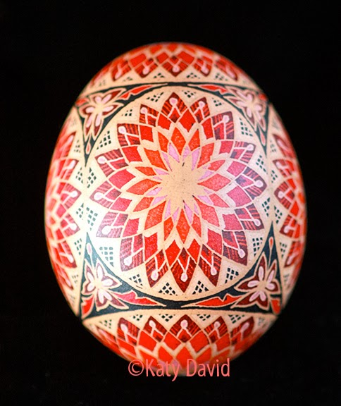 Friday Egg: Red Chrysanthemum ©Katy David Red, Pink, Scarlet Pysanka Eggshell Art