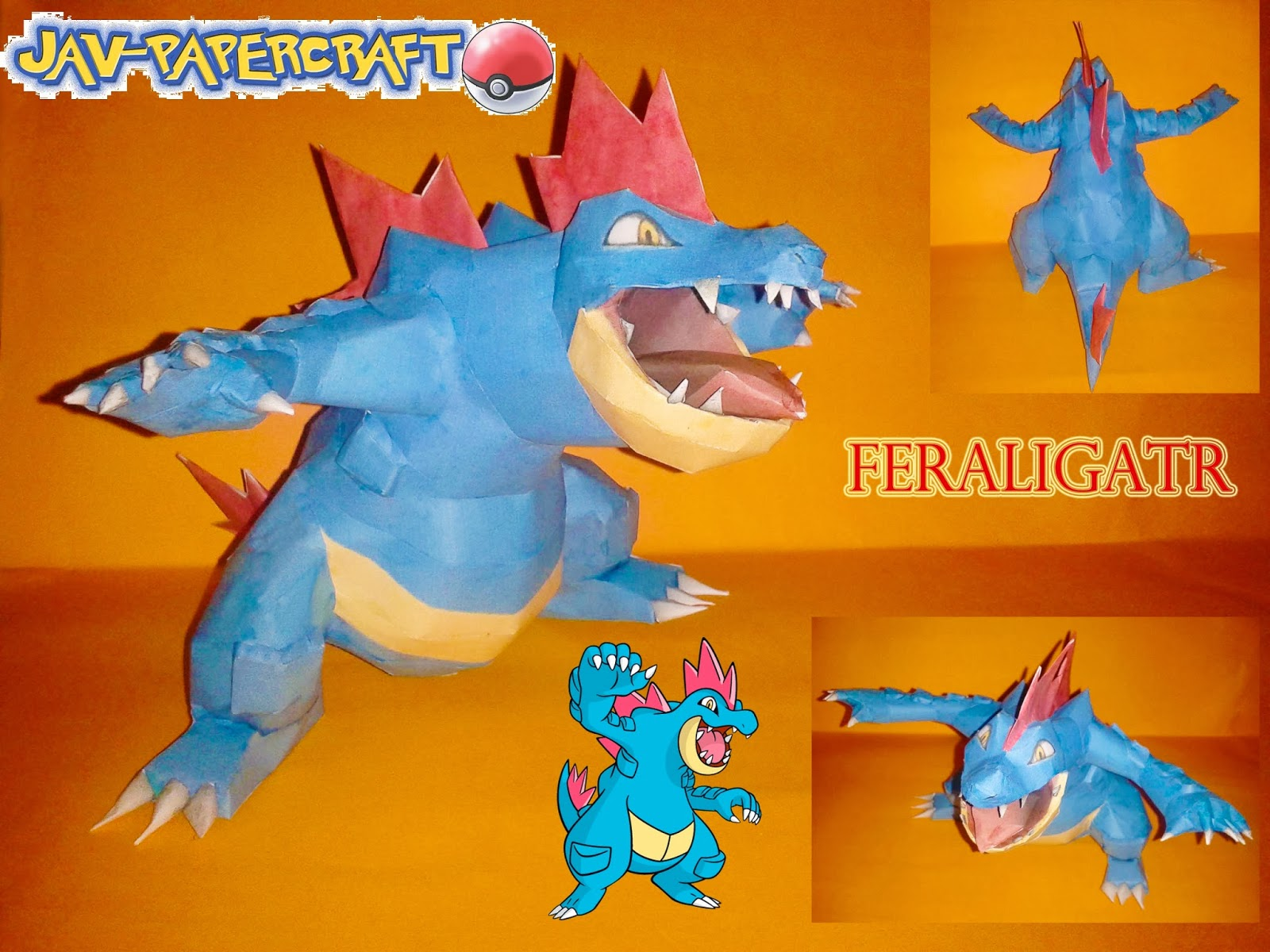 Pokemon Feraligatr Papercraft