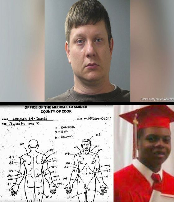 "Police Officer"" Jason Van Dyke (top) shot Laquan McDonald 16 times as he walked away."