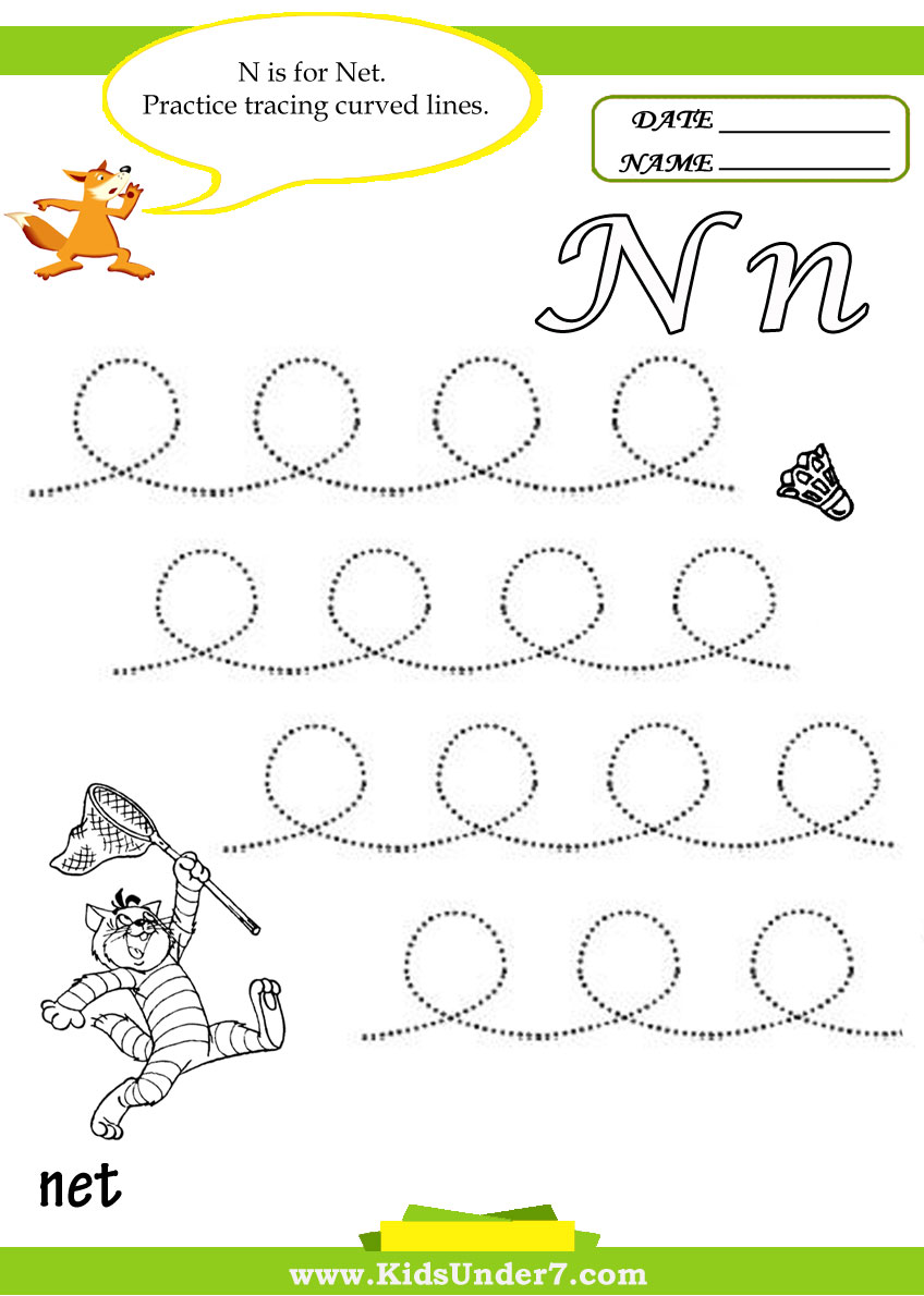 Kids Under 7 Letter N Worksheets