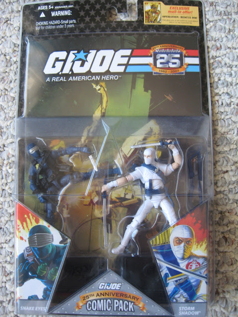 "G.I. Joe comic pack, featuring Snake Eyes, Storm Shadow, and the legendary ""Silent Issue."""