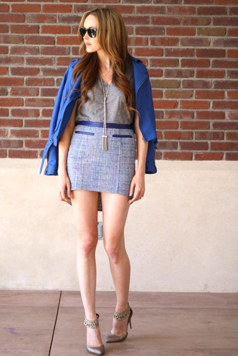 Spring Leather- Blue Leather Jacket- Leather Jacket- Tweed Skirt- Ankle Strap Pumps-Golden Divine Blog-Ashley Murphy