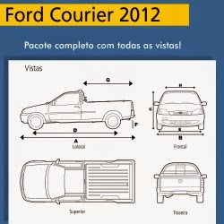 Ford Courier 2012 - vistas frontal, lateral, traseira, superior