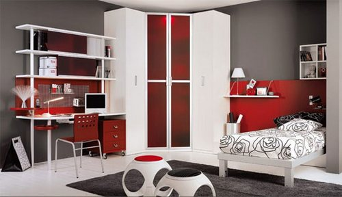 red and black color interior