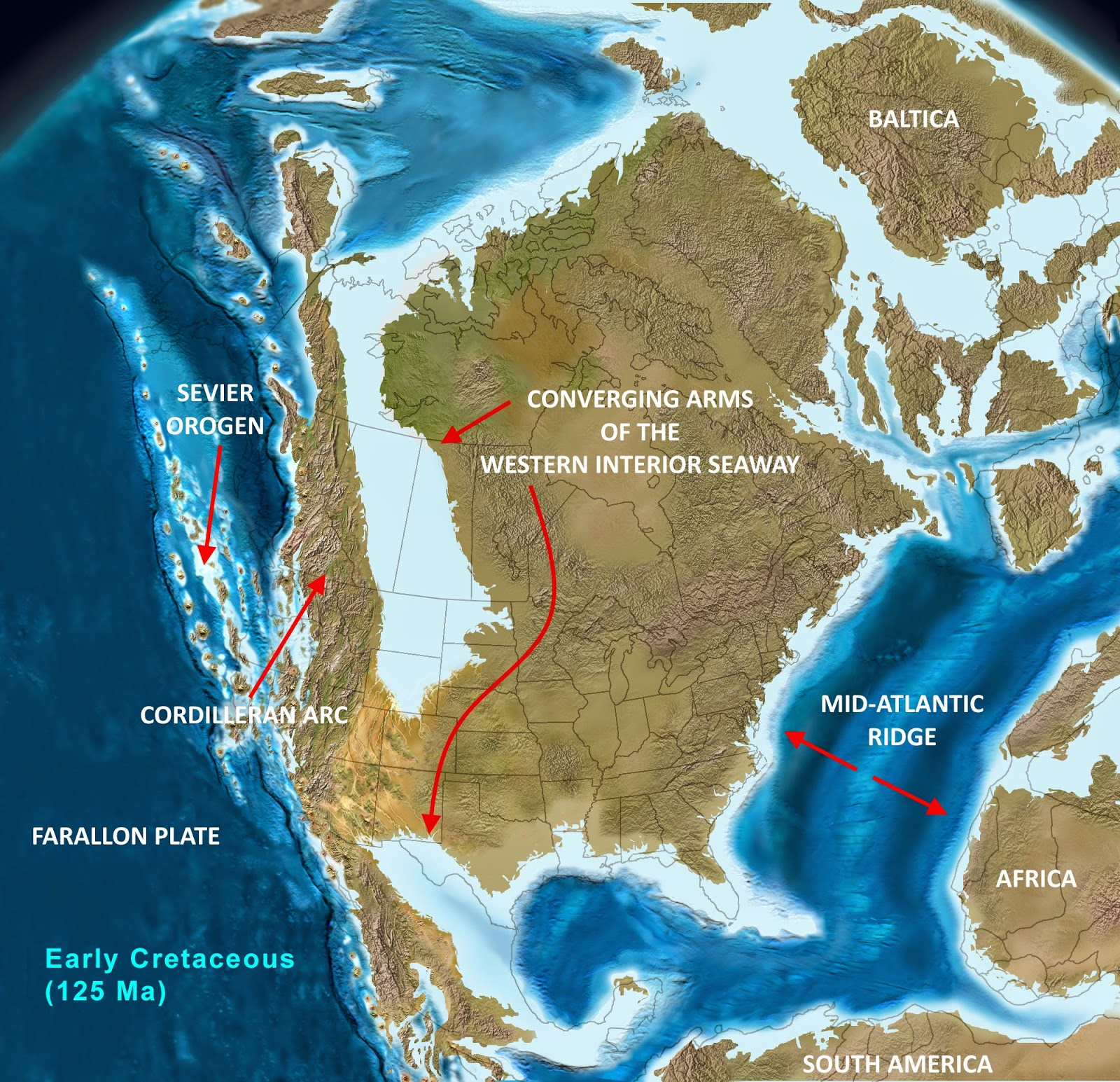North American Tectonics During The Early Cretaceous (125 Ma) Two Large  Arms Of The Rising Sea Are About To Converge, Held Up Temporarily By  Tectonic ...