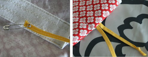Hot water bottle cover tutorial - adding ribbons