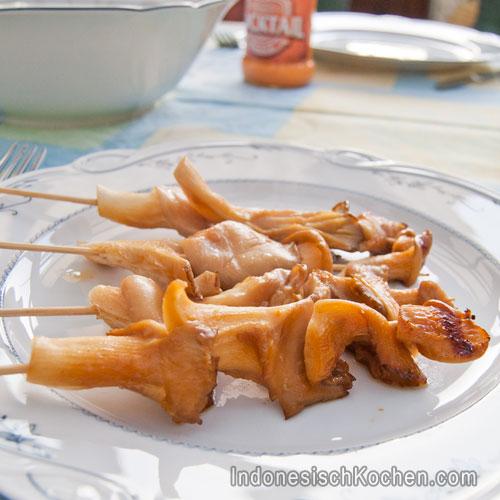 Sate Austernpilzen Rezept indonesisch kochen