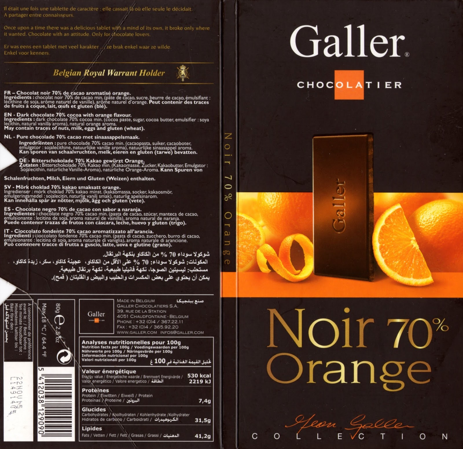 tablette de chocolat noir gourmand galler noir orange 70