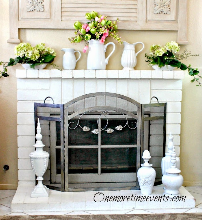Spring mantel with hydrangea bookends at One More Time Events.com