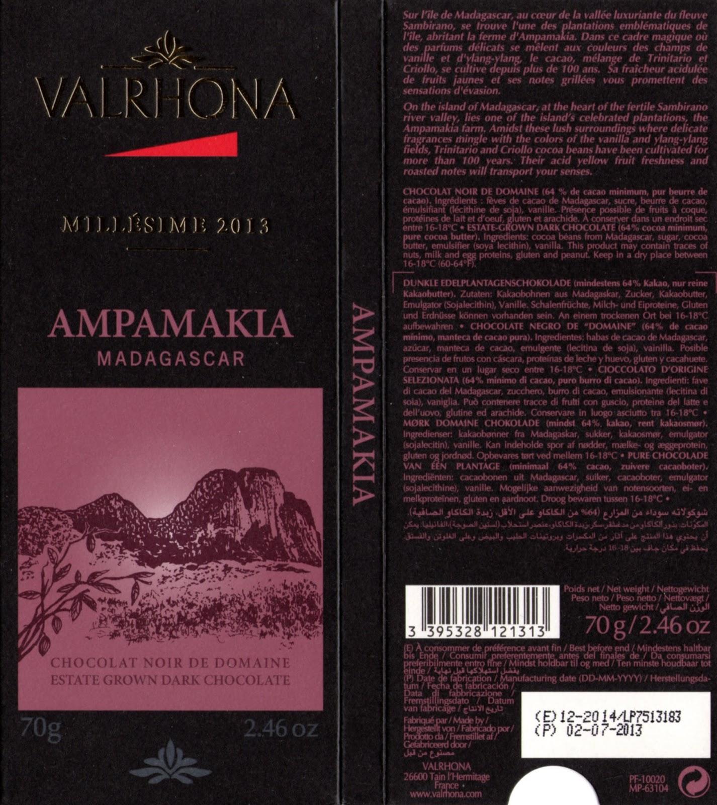 tablette de chocolat noir dégustation valrhona noir de domaine ampamakia madagascar 2013
