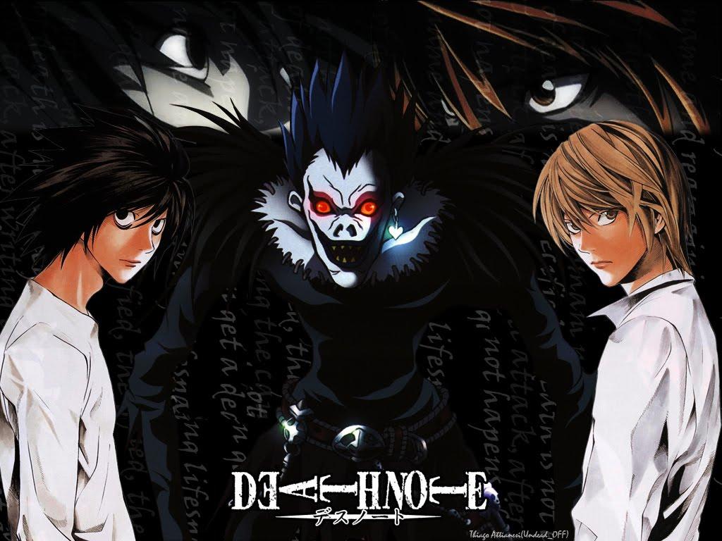 Kisah seorang siswa sma terbaik se jepang bernama light yagami yang menemukan death note kepunyaan shinigami dewa kematian bernama ryuk