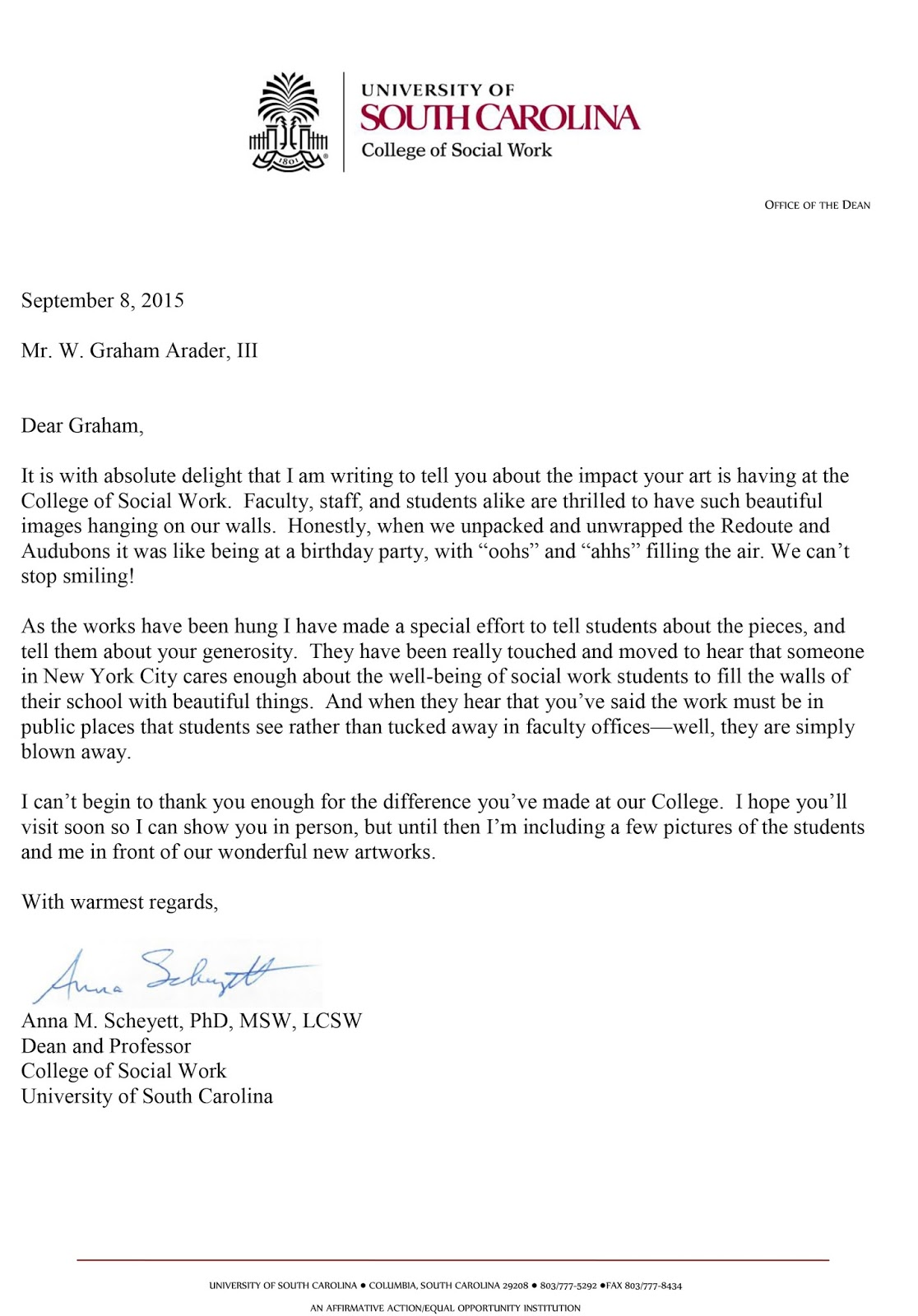 Graham arader a fine thank you letter from the dean of social work a fine thank you letter from the dean of social work at the university of south carolina expocarfo Images
