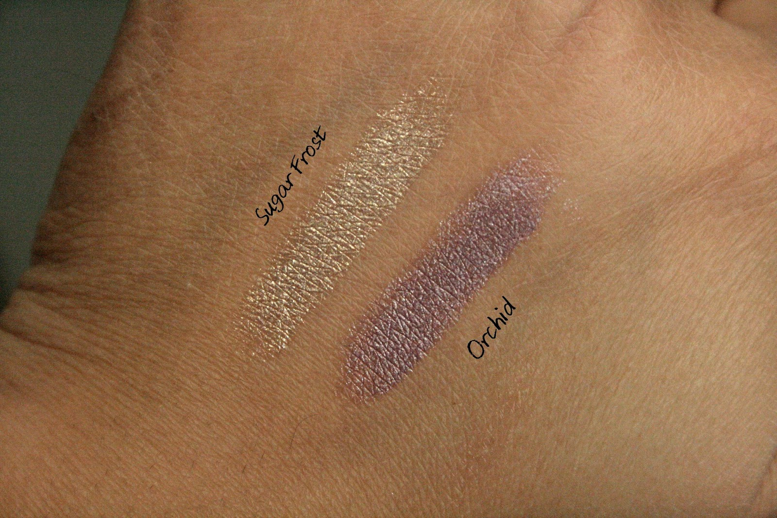 Laura Mercier Caviar Stick Eye Colors in Orchid & Sugar Frost Swatches