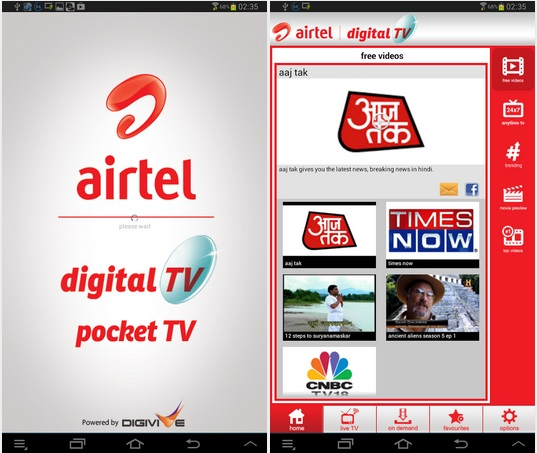 Airtel Pocket TV App for Android - watch live channels