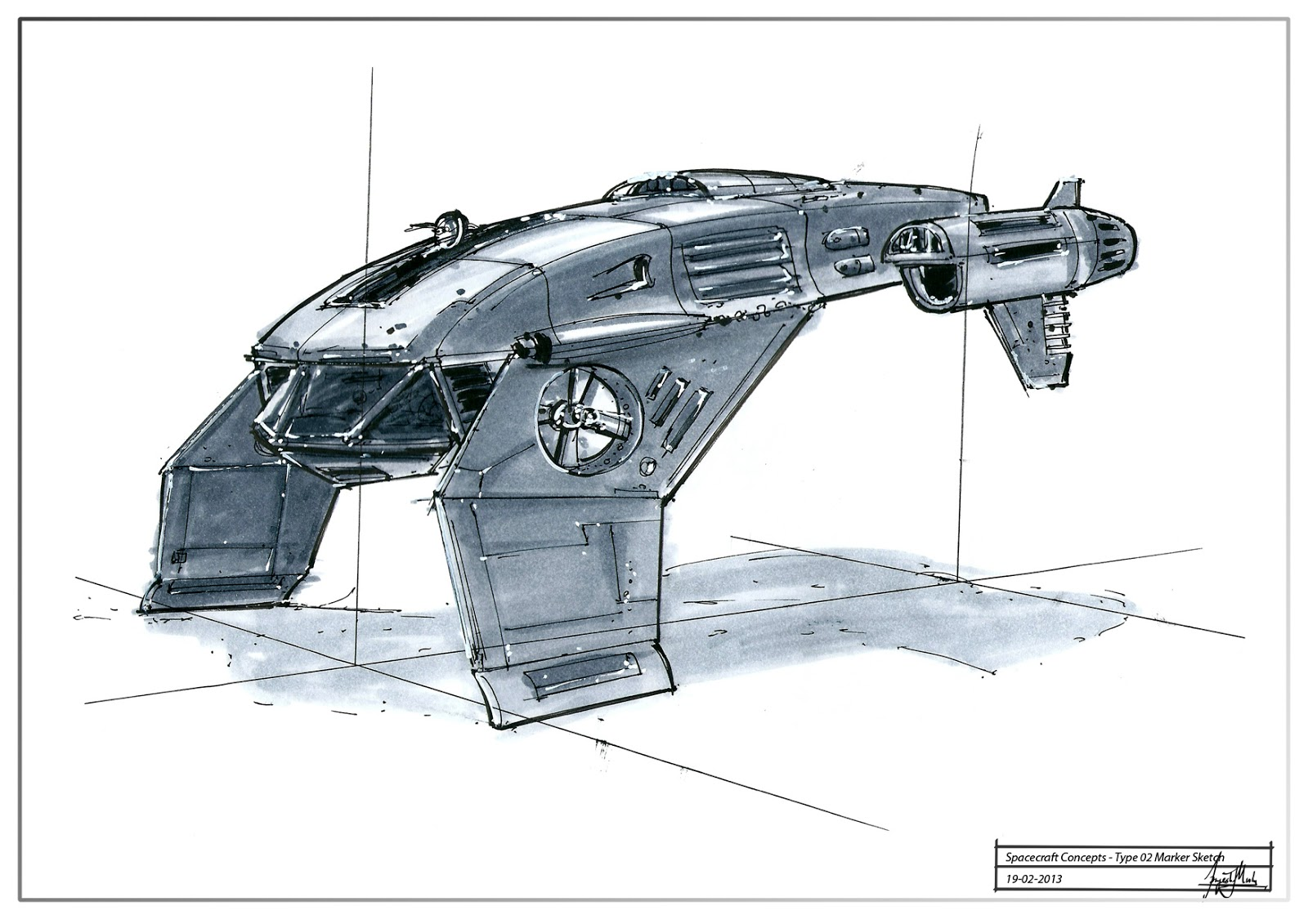 Grandpriy Concept Design Spacecraft Sketches