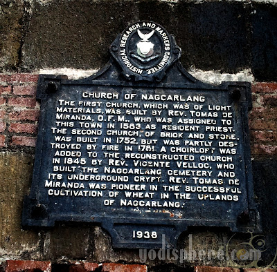 Historical marker of the Church of Nagcarlan in Laguna Philippines