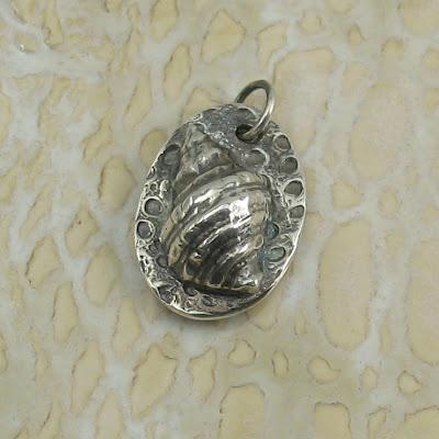 Cicada Silver:  Fine Silver Seashell Pendant