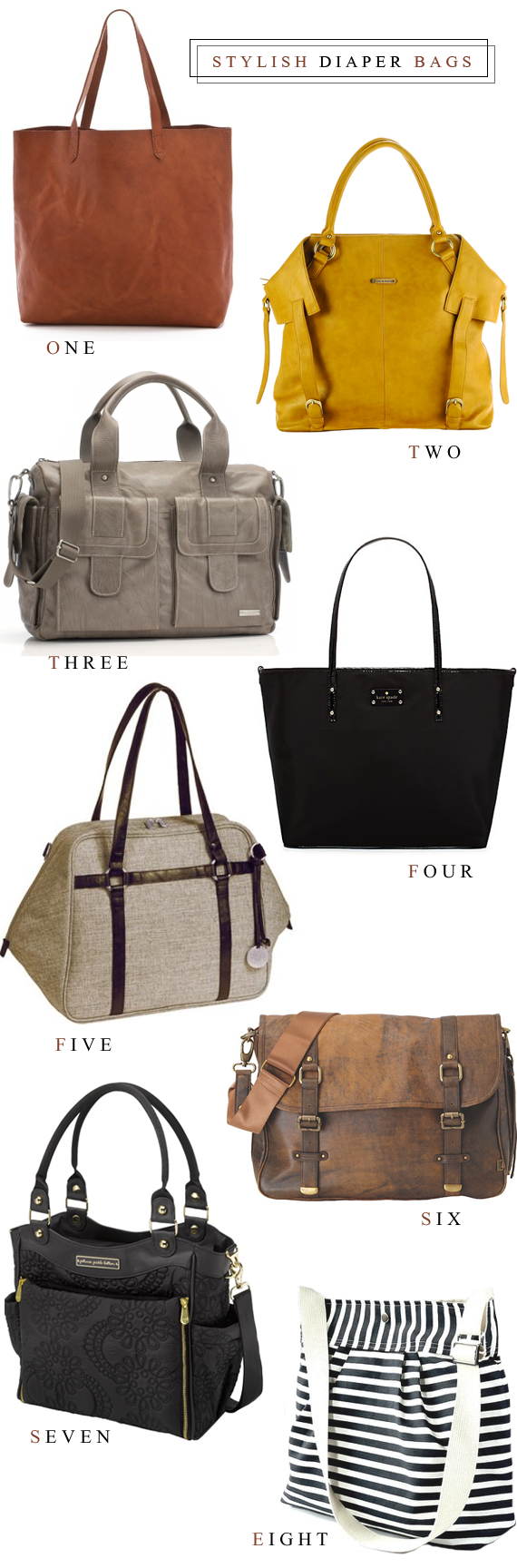 8 Stylish Diaper Bags // Bubby and Bean