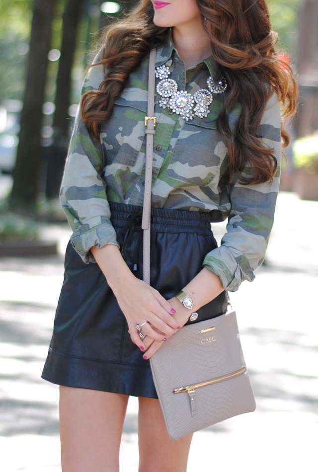 Camo shirt with leather skirt