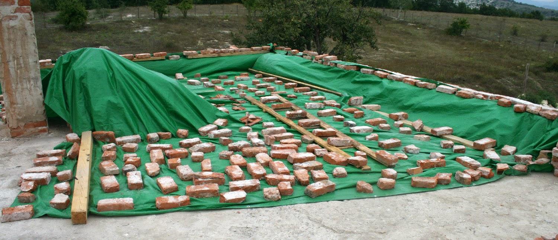 Bricks on the tarpaulin