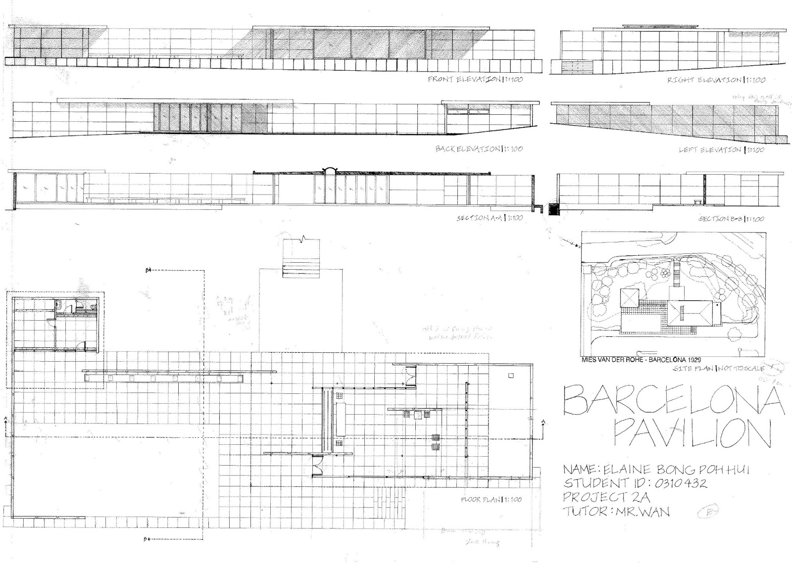 Elevation Plan Measurements : Barcelona pavilion measurements related keywords